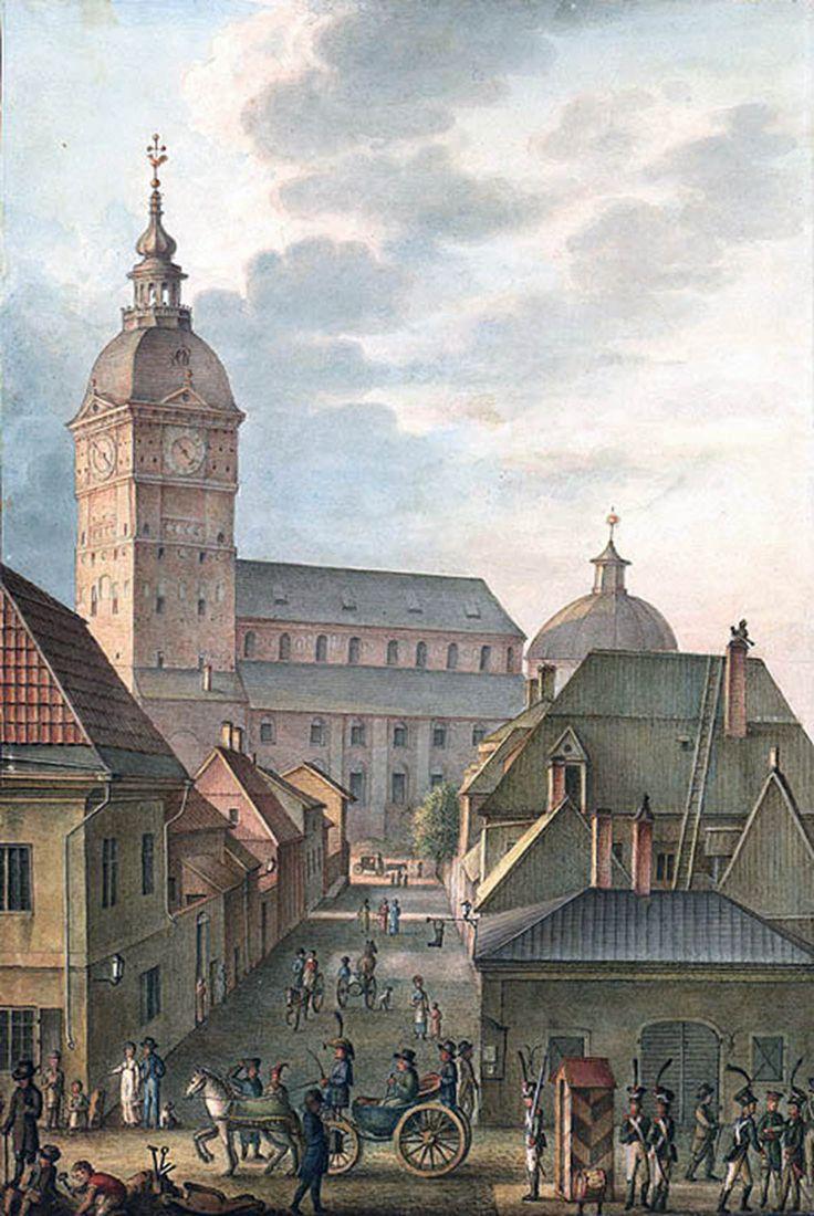Turun tuomiokirkko ja kirkkokortteli ennen paloa C. L. Engelin vuonna 1814 maalaamassa akvarellissa.