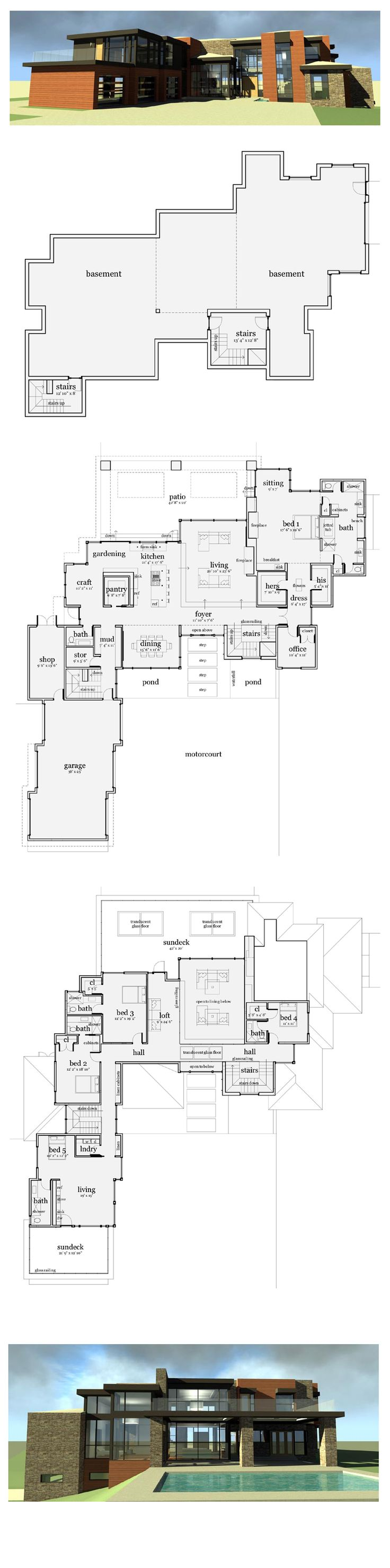Modern House Plan 67596 | Total Living Area: 5165 sq. ft., 5 bedrooms & 5.5 bathrooms. The entry walk steps across the reflecting pond and waterfall. Inside, the entry is open to the translucent bridge above. The kitchen, gardening area and craft room are connected and provide a continuous work area. #modernplan #houseplan