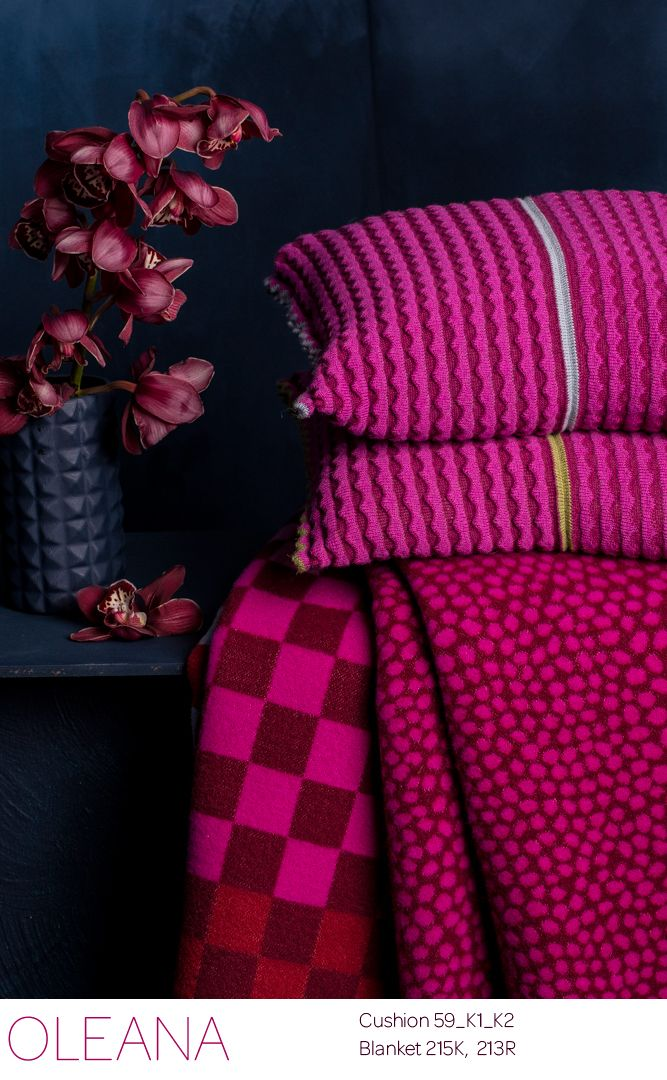 from OLEANA home Collection , Cushion knitted in 100% Alpaka Blanket woven in Merino wool,  Design Solveig Hisdal,  Made in Norway