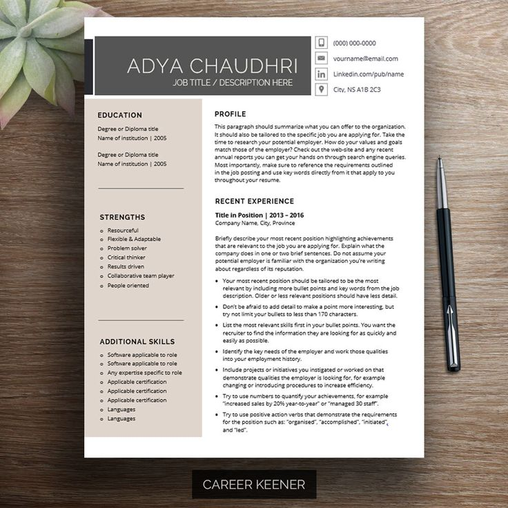 Creative Resume Template For Word With Cover Letter And