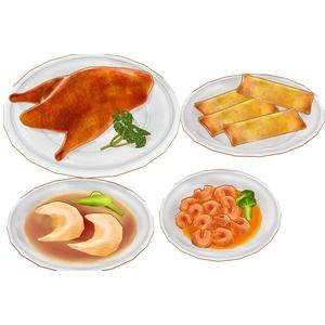 エビチリ、シューマイ、ピータン、フカヒレスープ、マーラーカオ、回鍋肉、春巻、北京ダック などの中華料理と円卓と椅子のセット。  大きい画像はこちら http://seig...