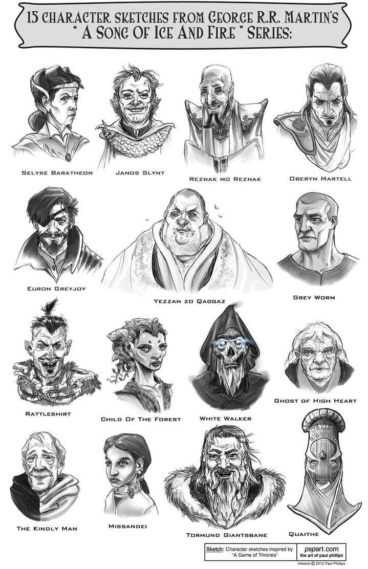 15 Characters from A Song of Ice and Fire Series by ~PaulPhillips on deviantART