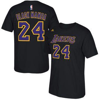 adidas Kobe Bryant Los Angeles Lakers Black Black Mamba Nickname and Number T-Shirt