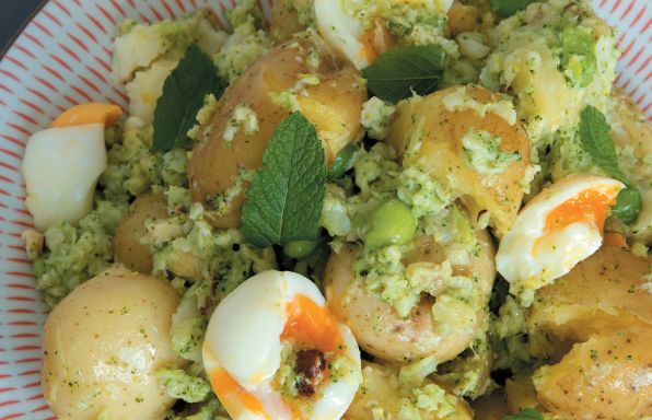 Potato salad with broccoli and mint pesto- recipe from my book 'Janella Super Natural Foods'