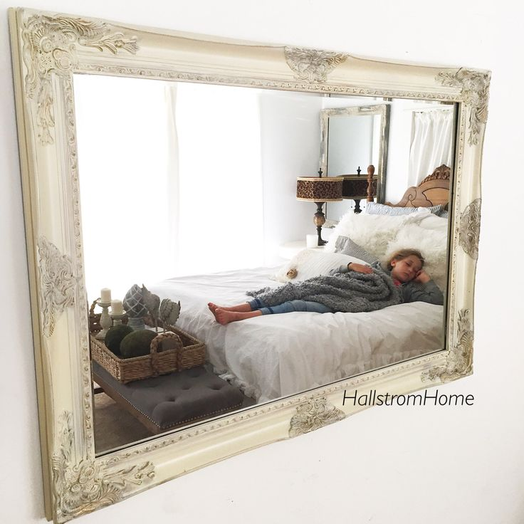 Cream Ornate Framed Wall Mirror French Country Bathroom Mirror Laeaning Mantle Mirror Large Vanity Mirror Custom Colors Available by HallstromHome on Etsy https://www.etsy.com/listing/280865654/cream-ornate-framed-wall-mirror-french