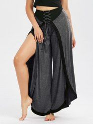 High Slit Lace Up Palazzo Pants - MOUSE GREY
