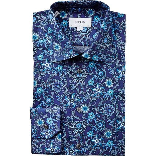 Floral Print Dress Shirt ($220) ❤ liked on Polyvore featuring men's fashion, men's clothing, men's shirts, men's dress shirts, mens slim fit button down shirts, men's spread collar dress shirts, mens floral shirts, mens slim fit dress shirts and mens button down dress shirts