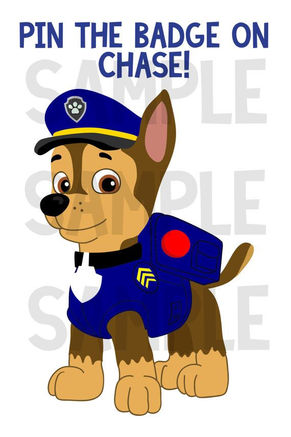 Paw Patrol Party Game! Pin the Badge on Chase! INSTANT DOWNLOAD! on Etsy, $5.00