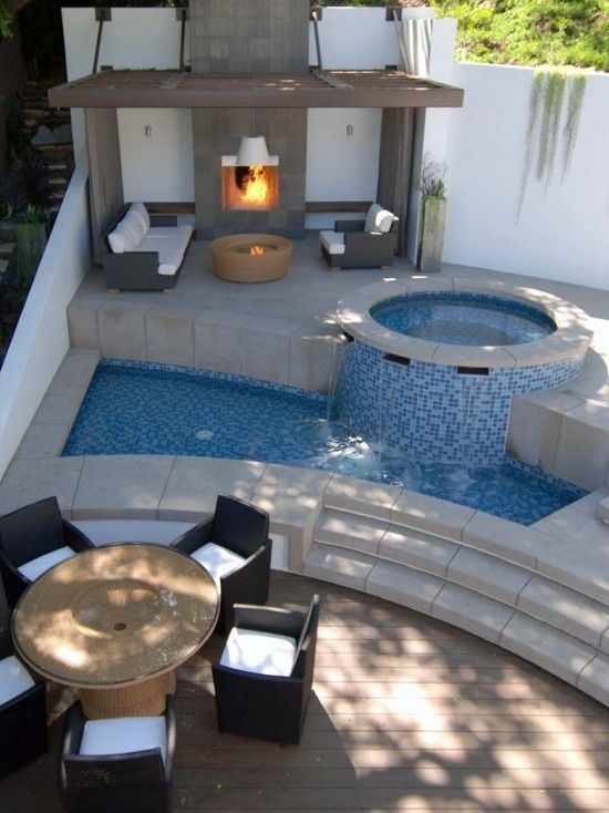 Like the porches, fire pit, fire place, couches & spa, but the pool needs to be bigger.