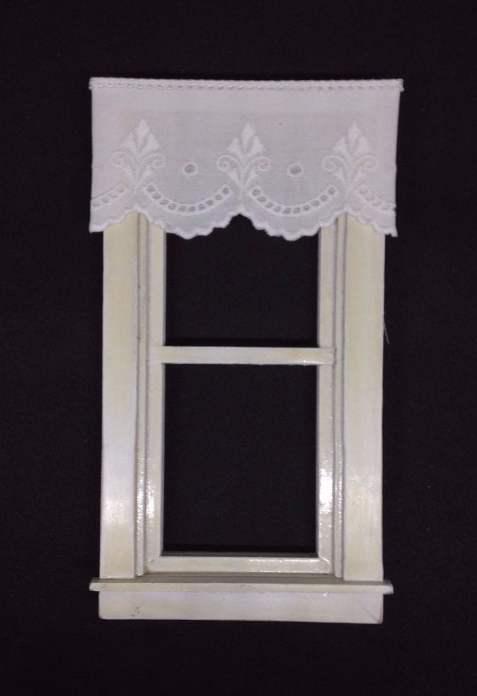 """Shade Dollhouse Curtains Soft White with Tassel 3 /"""" wide"""