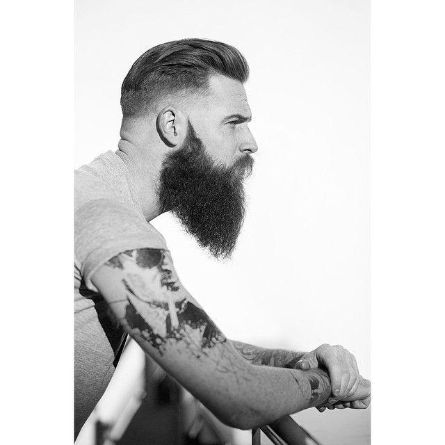 Gwilym Pugh - full thick beard mustache beards bearded man men mens' style hair hairstyle cut barber tattoos tattooed profile side bearding #beardsforever