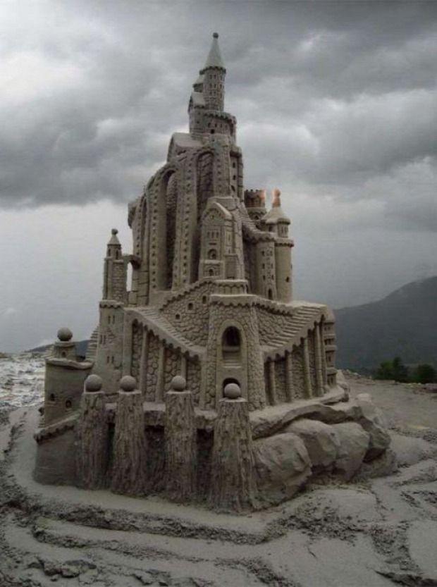 A világ érdekes tengerpart homok építmény vár