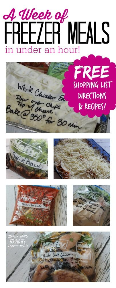 Make a week of Freezer Meals in under an hour! Includes the free printable shopping list & recipes! Great for busy families who don't have time to cook 30 meals at once, but still want to have dinner on the table even on busy nights!