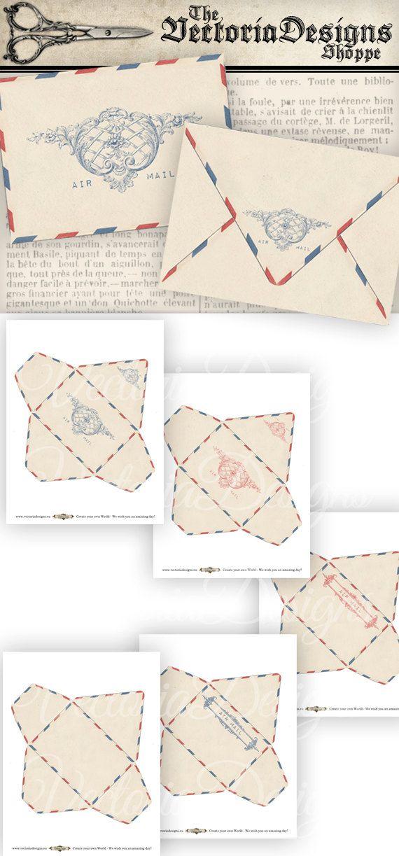 Vintage Air Mail Envelopes Printable Envelopes by VectoriaDesigns