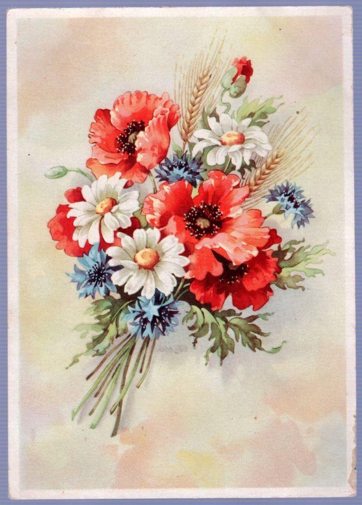Поздравления дню, открытки с цветами нарисованными