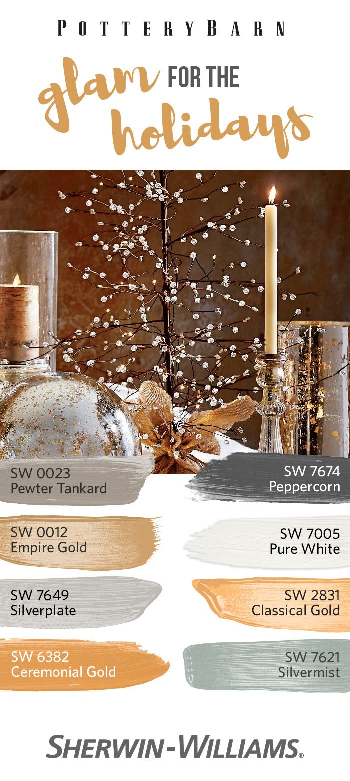 Celebrate the holiday season with some merry golds and silvers! From subtle Pewter Tankard SW 0023 and Silverplate SW 7649 to bold Ceremonial Gold SW 6382 and Peppercorn SW 7674, incorporate a little sparkle and shine into your look this season.