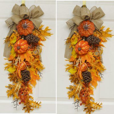 """Set of 2 Fall Pumpkn door Swags with Burlap Bow - This set includes 2 swags for one low price. Decorated with Pumpkins, Berries, Silk Oak and maple leaves, branches, pine cones, corn husks, burlap ribbon 30"""" L x 10"""" W"""