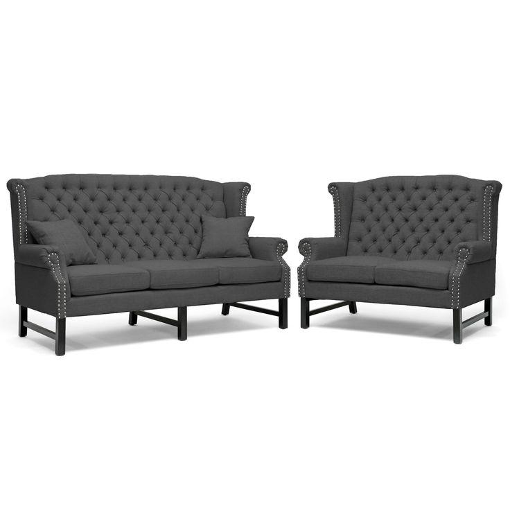 sussex dark gray linen sofa set by baxton studio