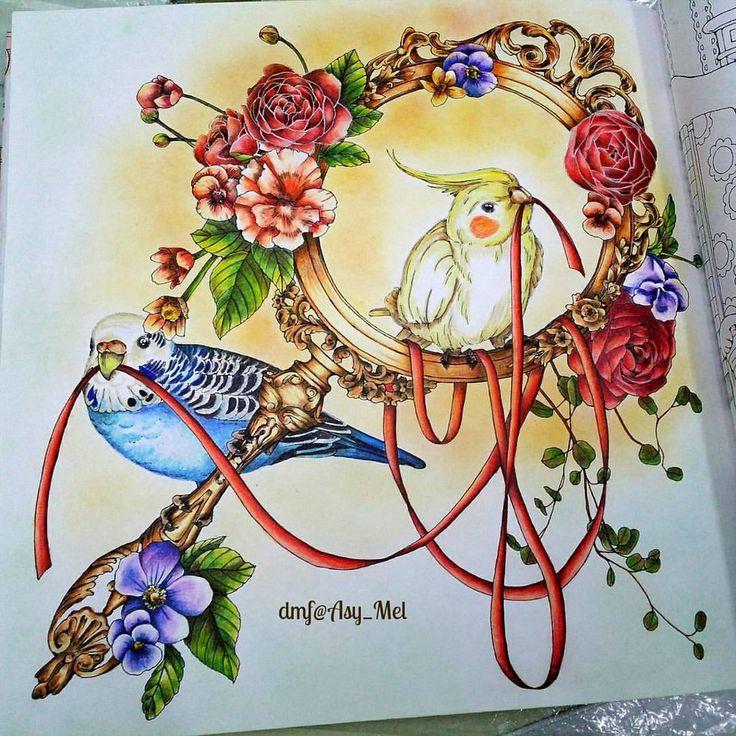 Cute Budgerigar and Cockatiel in the Summer . ✔ Menuet de Bonheur by @kanokoegusa Kanoko Egusa [No.2] ✔ Prismacolor 72 ✔ Soft pastel for background . . #kanokoegusa #menuetdebonheur #desenhoscolorir #coloring_masterpieces #artecomoterapia #colorindolivrostop #coloringbook #beautifulcoloring #coloring_secrets #majesticcoloring #livrodecolorir #jardimsecreto #artecomoterapia #boracolorirtop #prazeremcolorir #bayan_boyan #arttherapymania #divasdasartes #nossojardimsecreto…
