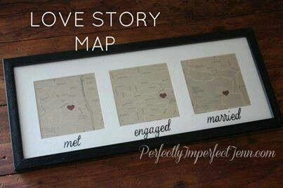 Love story map. Such a cute idea! #diy