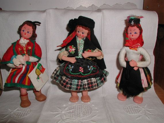 Vintage Lot of 3 Hand Made Maria Helena Portugal Dolls with tags