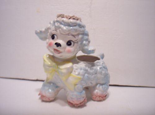 Vintage-Samson-1961-Easter-Lamb-Sheep-Figurine-Planter-Spaghetti-Lace-Japan