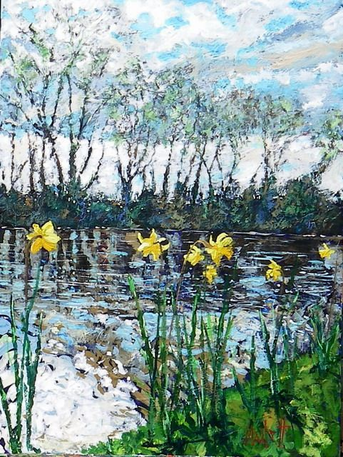 Timmy Mallett - Painting - Daffodils at Rolfs 2