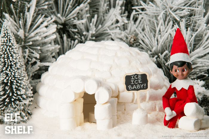Have the Elf of The Shelf make a snowman or igloo with mini marshmallows. Get more ideas at the Pampered Teacher blog, featuring Dandies all-natural marshmallows in their subscription boxes for teachers