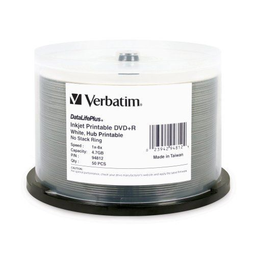 Verbatim DVD+R 4.7GB 8X DataLifePlus Inkjet Printable, Hub Printable 50pk Spindle (White) by Verbatim. $18.98. Combining an exceptional inkjet hub-printable surface with professional grade, Metal Azo, recording performance and reliability, Verbatim DataLifePlus White Inkjet Hub Printable DVD+R 8x discs are the ultimate choice for developing, customizing and distributing DVD content.  Certified for 1x-8x DVD recording and preferred by DVD+R drive manufacturers, Verbatim Data...
