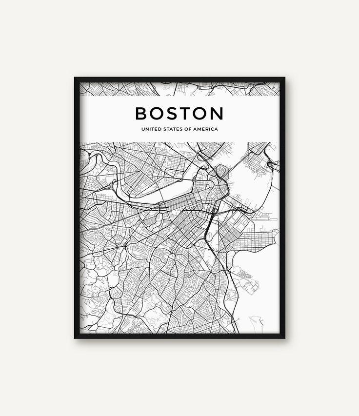 Boston Map Print, Boston Print, Black and White Boston City Map, Boston Wall Art, Boston Decor, Map of Boston, Street Map, Massachusetts Map by serenitywallart on Etsy https://www.etsy.com/listing/500844970/boston-map-print-boston-print-black-and