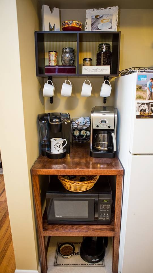 Love how this DIY microwave, coffee & pet station turned out! #diy #lovehome