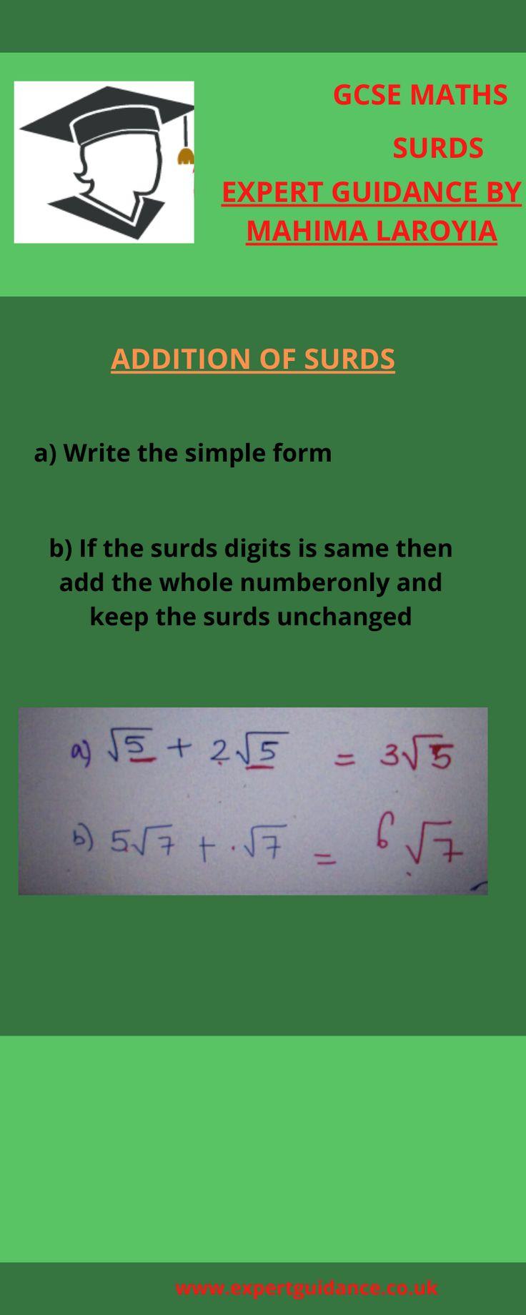 Gcse Maths Surds Gcse Math Gcse Maths Revision Math Addition and subtraction of surds