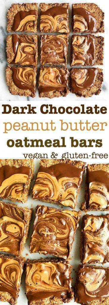 Dark Chocolate Peanut Butter Oatmeal Bars! A healthy peanut butter snack bar or breakfast bar. Dairy free, gluten free and made with a delicious date sweetened oatmeal crust.