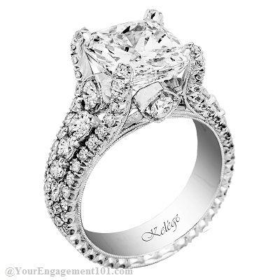 Amazing cushion cut engagement ring by Jack Kelége.