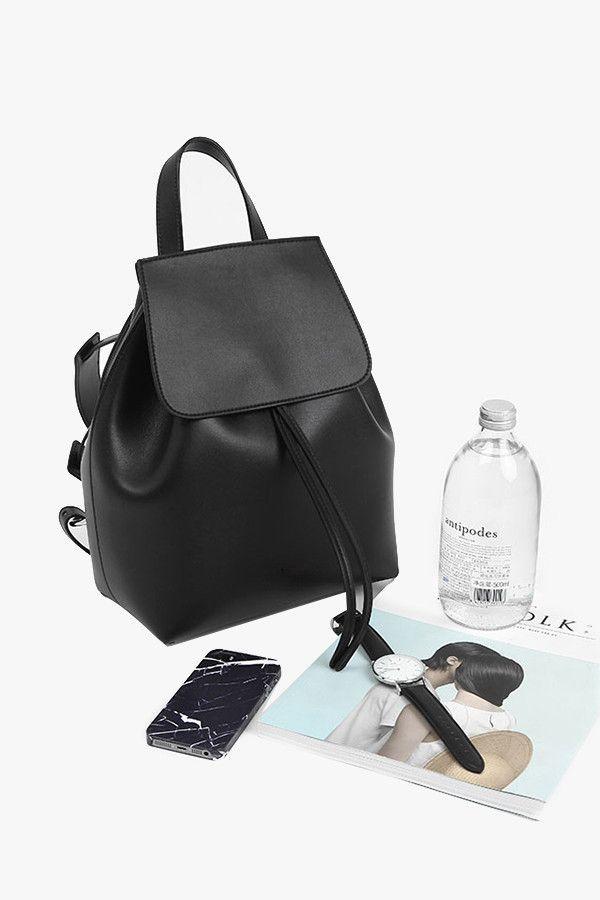 Black Genuine Leather Large Bucket Backpack
