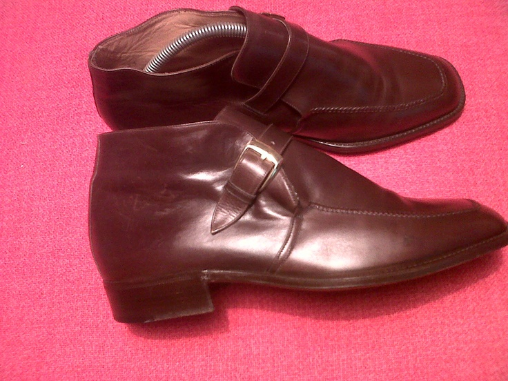 70s Brown Buckle Leather Ankle Boots. Olympic Torino