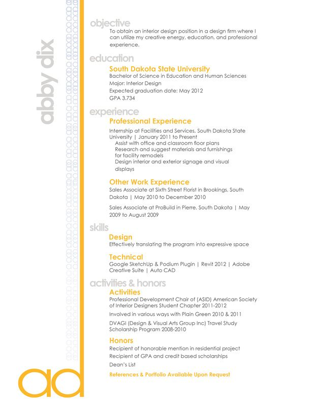 I Like The Pop Of Color Resume IdeasResume ExamplesResume LayoutInterior Design