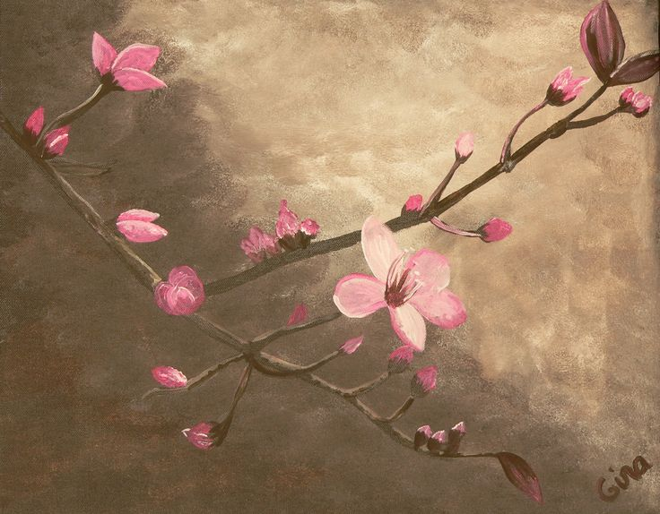 An original stunning Cherry Blossom painting that will bring a wow factor to any room. Painting by Gina Clark