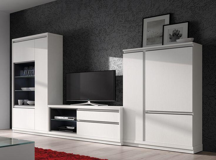 Espléndido mueble de salón de 327 cm en chapa industrial con acabado blanco y gris pardo. Destacan sus elementos metálicos en color negro, detalles que aportan personalidad.  Si quieres una mesa a juego, busca nuestra colección ROMEN.