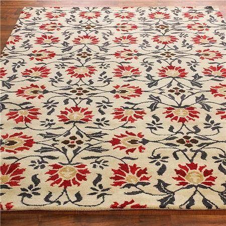 French Country Floral Plush Tufted Rug 2 Colors