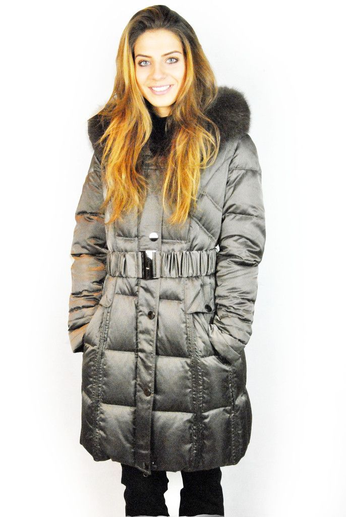 JESSIMARA 3/4 LENGTH TAUPE HOODED PUFFER COAT WITH FOX FUR TRIM