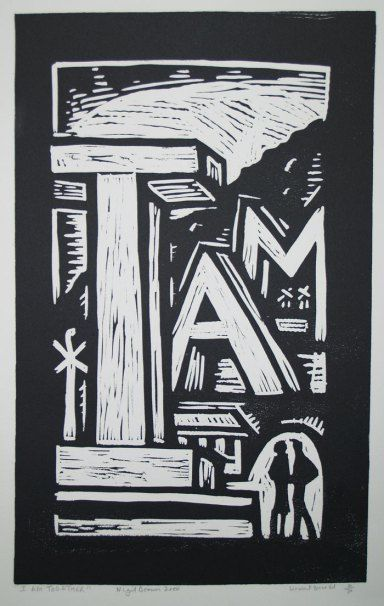 Nigel Brown, I Am Together 4/30 (2000). Linocut, 755 x 388 mm POA