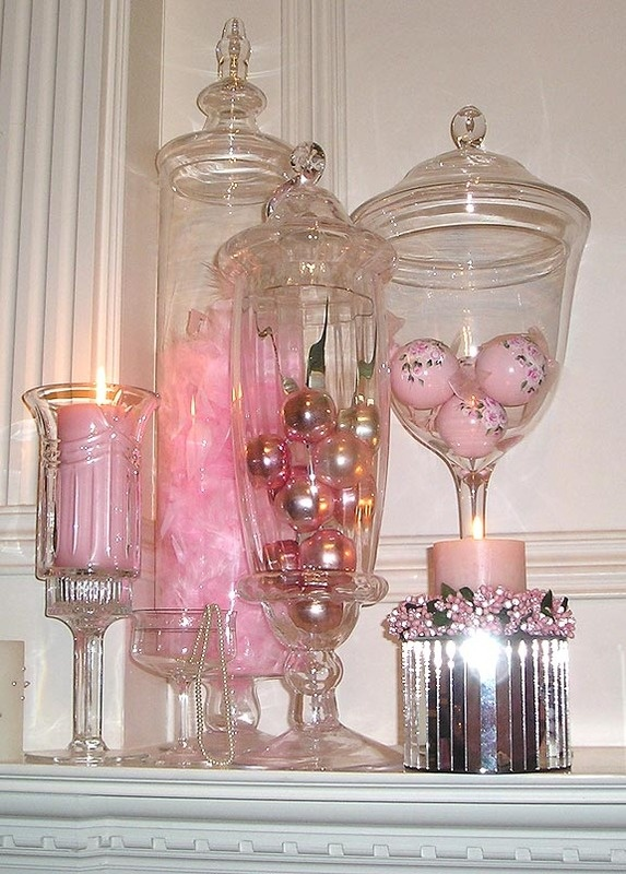 Tall decanters with vintage ornaments. Fill them with any color scheme, any season.: Color Schemes, Colors Schemes