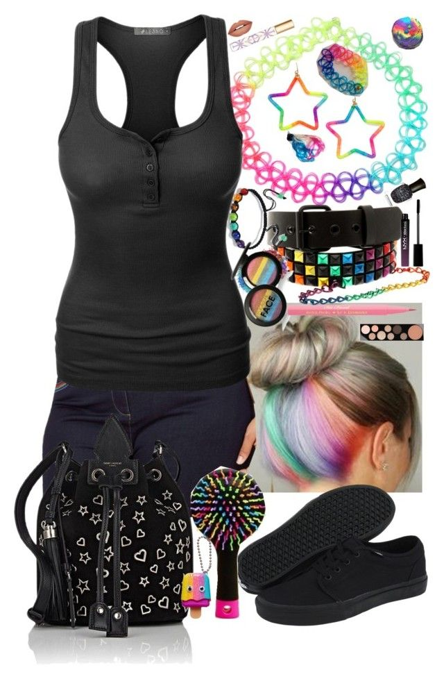Rainbows makes her happy by mariamehau on Polyvore featuring LE3NO, Vans, Yves Saint Laurent, Forever 21, Hot Topic, MAC Cosmetics, Too Faced Cosmetics, NYX, Tory Burch and Deborah Lippmann