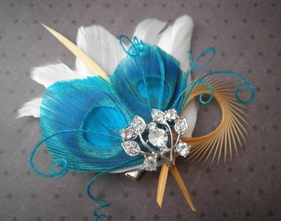 Bridal Feather Fascinator Peacock feather hair by PeacockPixys, $39.00