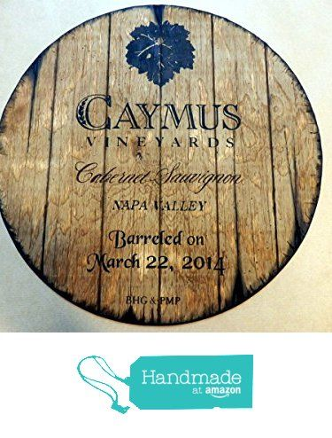 Caymus Vineyards Personalized decorative sign - wine barrel top | Wall art- painting on carved plywood | Handpainted artwork and your additional message on a distressed wood sign | Rustic wall decor from Woodcraft City