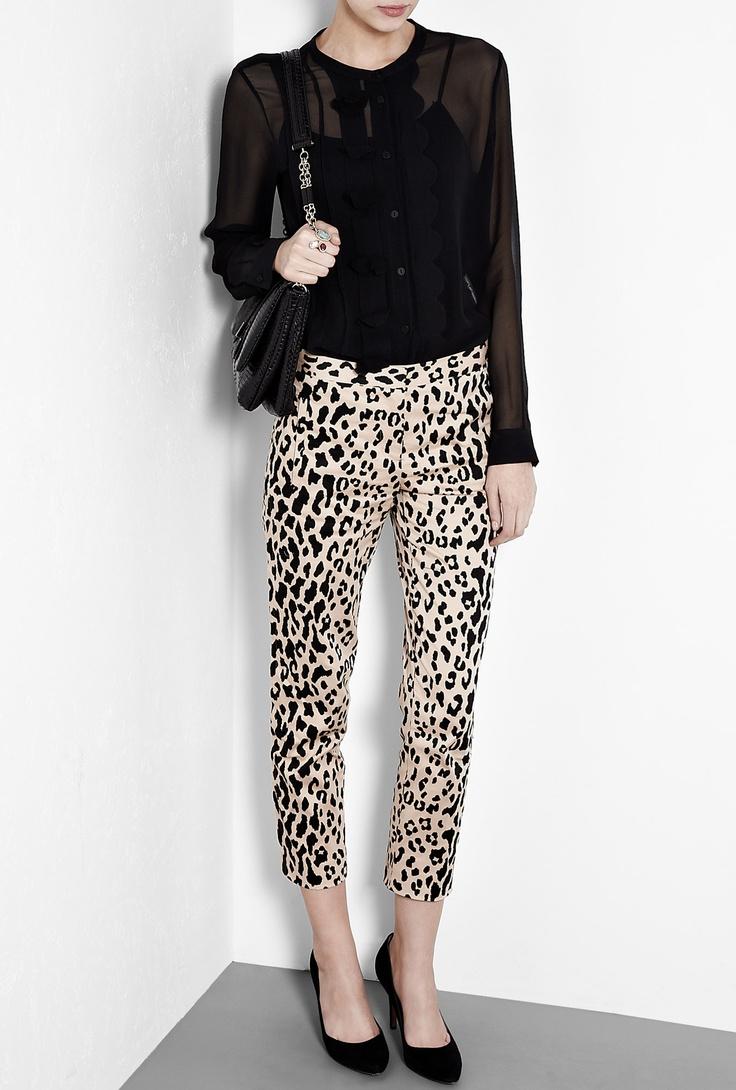 Cheetah Print Stretch Sateen Trousers by Tibi: Prints Stretch, Cheetah Print, Cheetahs Prints