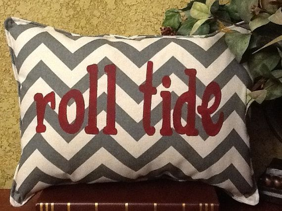 Roll Tide Chevron Stenciled Pillow on Etsy, $35.00