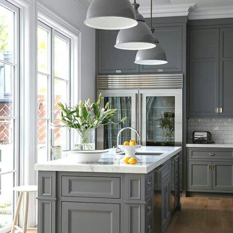 Beautiful Hampton kitchen. Love this colour something completely different