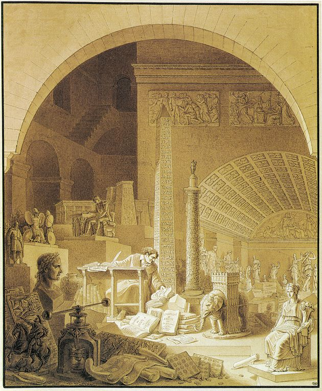Dominique-Vivant Denon (1747-1825) Cataloguing the Louvre. Denon was the director of the Louvre under Napoleon, where he collected masterpieces looted from the countries Napoleon conquered. Denon is a character in The Secret of Love.